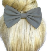 Grey Hair Bow Clip Handmade By Sweet in the City