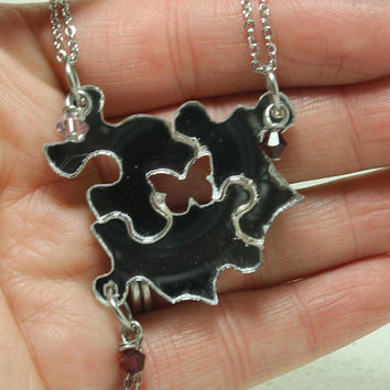 Friendship Puzzle Piece necklaces Set of 3 pendants with Crystals Silver Mirrored Acrylic