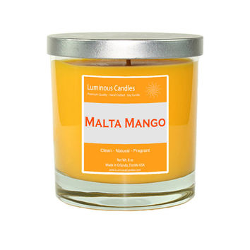 Soy Candle - Malta Mango Scented - 8 oz Rock Glass Jar Candle with Brushed Metal Lid