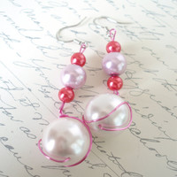 Pearl Earrings, Pretty in Pink