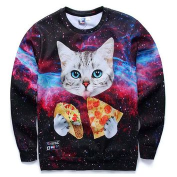 2017 New Mens/Womens Funny Sportswears Clothing Unisex Hoodies Cute Cat eating Pizza Galaxy Printed 3D Crewneck Sweatshirts