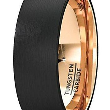 CERTIFIED 8mm 18k Rose Gold Wedding Band Two Tone Black Tungsten Ring Brushed Center Dome Comfort Fit