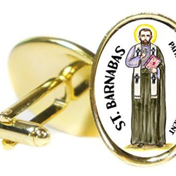 Saint Barnabas Patron of Encouragement  Oval Gold Pair of Cuff Links