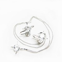 Shooting Star Pendant and Earring Set with Large 9 mm Crystal Stones