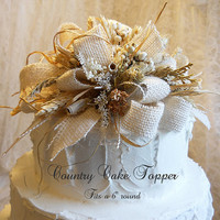 "Country Cake Topper, fits a 6"" round cake, embellished with burlap, german statice, tallow & wheat. Ready to Ship!"