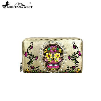 Montana West Sugar Skull Collection Wallet-Bronze