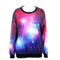 LoveLiness Neon Galaxy Cosmic Colorful Patterns Print Sweatshirt Sweaters (One Size, Multicolor)