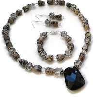 Dalmatian Jasper Jewelry Set with Black Obsidian - Necklace Bracelet and Earrings - SET027
