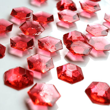 125 Edible RED Sugar Jewels Barley Sugar Candy 6.5 oz Cupcake Cookie Decor Favors Candy Buffet