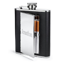 Leather Hip Flask with Cigarette Case Custom Personalization