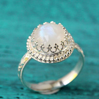 Moonstone ring, sterling silver floral band, rainbow moonstone gemstone ring, handmade, crown princess setting, white, bridal, engagement