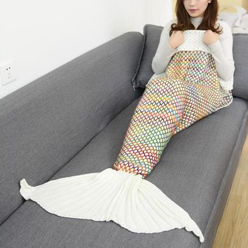 beige knitted sofa bedding mermaid tail blanket home gift  number 1