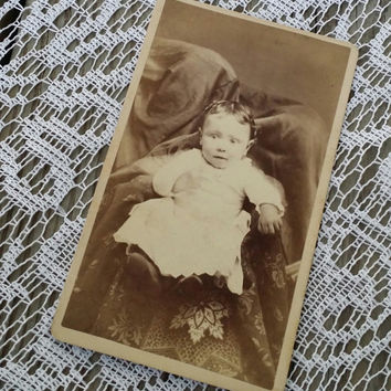Victorian CDV adorable baby girl with hidden mother