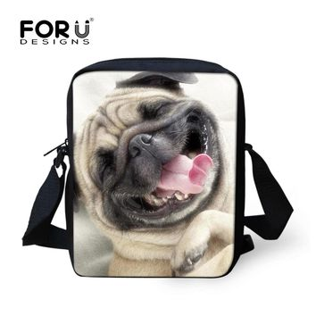 FORUDESIGNS Cute 3D Pug Dog Women Messenger Bag Mini Shoulder Bag For Girls Zoo Animal Cross Body Bags Children Mochila Infantil
