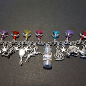 Disney fairy tales magic themed stainless steel charm bracelet