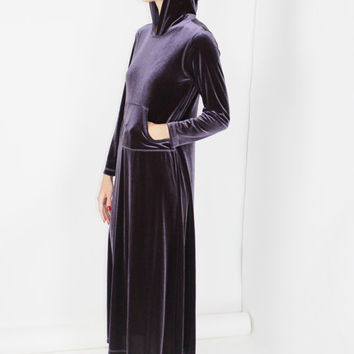 velvet JUMPER dress dark purple oversized tent maxi hoodie dress gothic witchy grunge small medium