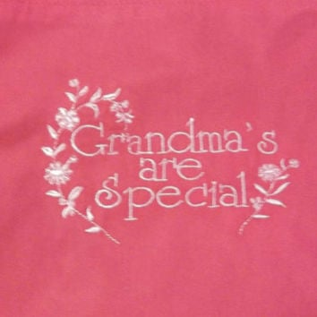 handmade apron hot pink with light pink grandma's are special embroidery