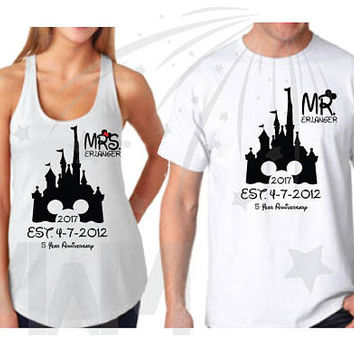 Super Cute Mr Mrs Matching Couple Anniversary Shirts, Last Name, Wedding Date, Disney Cinderella Castle, Free Shipping, Free Gift, MWM, 413