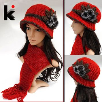 Free shopping 2017 Fashion wool crochet hats for women winter millinery cap double layer thickening knitted hat scarf twinset