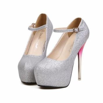 Women's Silver High Heels Stilettos Pump Shoes Platform Ankle Buckle Creative