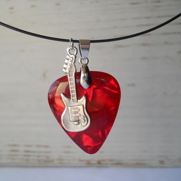 Guitar pick resin pendant necklace, rock fan jewelry, rock music jewelry, guitar pendant, rocker jewelry, red guitar pick, dark blue guitar