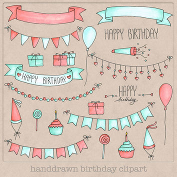 Handdrawn Birthday Clipart mint pink coral bunting balloons cupcakes banners, great for party card making, scrapbooking, graphic design etc.