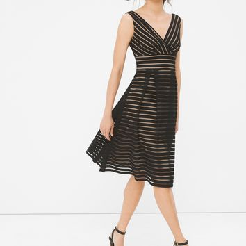 White House | Black Market Shadow Stripe Fit-and-Flare Dress