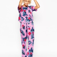ASOS Bright Floral Tee & Long Leg Pajama Set