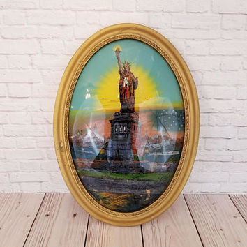 Vintage Statue Of Liberty in Oval Gold Gesso Frame Bubble Glass