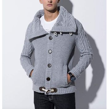 Mens Shawl Collar Horn Button Cardigan in Gray