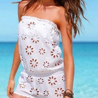 Bikini Swimwear Cover Up Tube Lace Jumpsuits Rompers