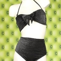 Body Positive Fatkini - Broad Minded Glamour Girl Black Metallic High Waisted Two Piece Pinup Swimsuit with Bandeau Top with Tie Front