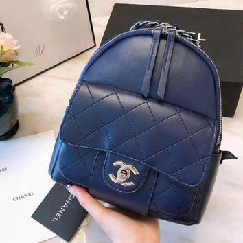 CHANEL Trending Women Stylish College Leather Satchel Backpack Bookbag Blue I-WXZ2H
