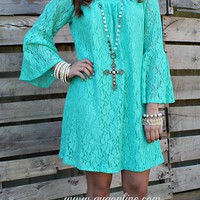 Lace The Facts Dress in Seafoam