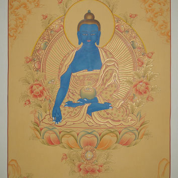 Medicine Buddha Thangka Painting Buddhist Wall Hanging Cotton Canvas Art Scroll Painting 24K Gold