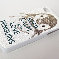 Keep Calm and Love Penguins Custom Print On Hard Case or Soft Case For iPhone 5/5s/5c, 4/4s