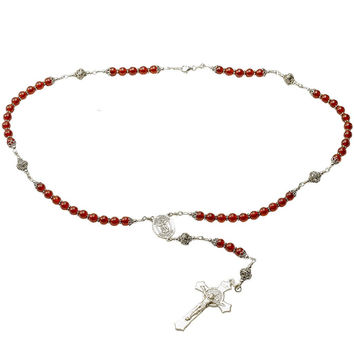 Sterling Silver Rosary Necklace, Carnelian 6mm, St Benedict Crucifix & St Michael Medal
