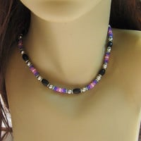 Choker Necklace In Purple and Pink Beaded Beads/Beaded Beads/Jewelry/Chokers/Tribal Jewelry/Handmade Jewelry/Unique Jewelry/Body Jewelry