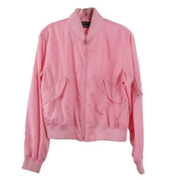 RALPH LAUREN Pink Nylon Zip Front Parka Jacket Ribbed Cuffs and Hem Size M