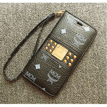 Iphone 6s phone case flip iphone6 plus protective shell leather 5s SE leather lanyard foreign trade original single MCM