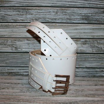White Patent Leather Belt Wide Belt Cinch Belt Womens White Belt Edgy Steampunk Belt Pirate Wench Belt Hippie Boho Belt Size Medium Belt