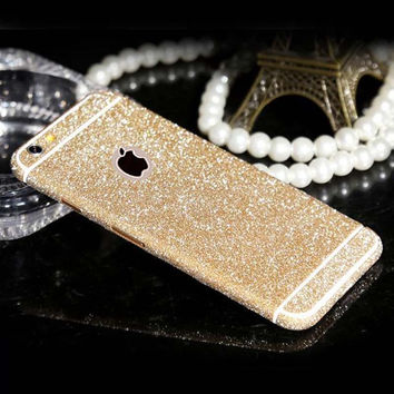 Hot Sale~ Candy Color Shiny Full Body Glitter Bling Sticker for apple iphone 7 7P 5 5S 6 6S Phone Sticker Matte Screen Protector
