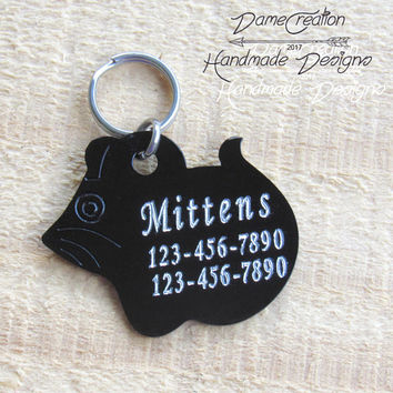 Personalized Cat Tags for Collars, Mouse Shaped Cat Tag, Personalized Cat Tag for Cat, Pet ID Tag, Cat ID Tag, Cat Tag, Pet Tag