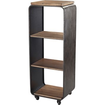 Maltapan Wood Tone Metal Bookcase Wire Accents Set on 4 Wheels