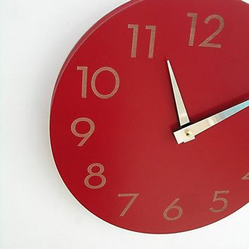 modern numbers clock poppy red by uncommon on Etsy