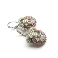 Pastel Earrings Small Drop Earrings Pink and Mint Earrings Small Soutache Earrings Mint and Pink Earrings Pastel Pink Earrings Romantic