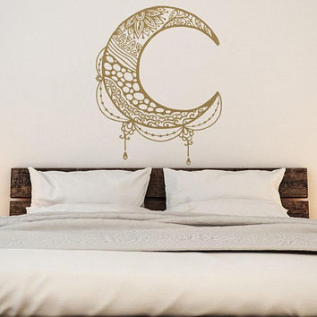 Moon Wall Decal - Gold Wall Decals, Metallic Wall Decal Sticker, Boho Moon Decor, Moon Bedroom Decor, Bedroom Decals, Moon Wall Sticker #230