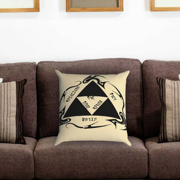 the legend of zelda triforce Pillow Cover , Custom Zippered Pillow Case One Side Two Sides