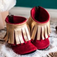 Gracious May Noel (red/gold) Moccasins