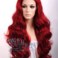 "Long 24"" Red Curly Wavy Lace Front Synthetic Wig - Wig Is Fashion"